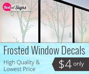 Frosted window decals give your business or home the upscale effect of etched glass at a fraction of the cost.