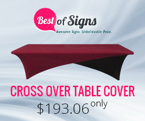 Transform the look of your trade show or seminar booth with this striking tablecloth.