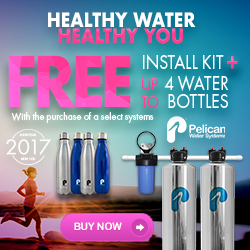 Free Install Kit + up to 4 Water Bottles with Whole House Water System Purchase. Plus 20% Off Drinking and Shower Filters at Pelican Water. No code needed.