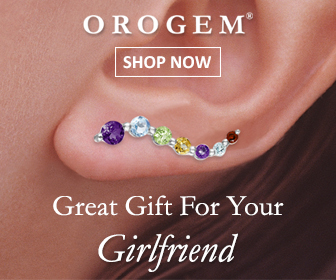 Girlfriend 14k White Gold Multi Gemstones Journey Ear Pin Earrings