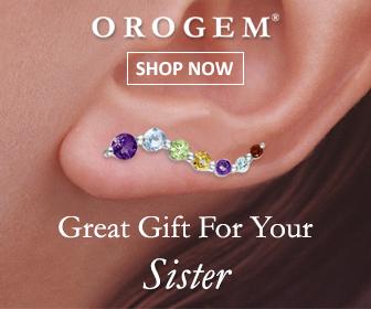 Sister 14k White Gold Multi Gemstones Journey Ear Pin Earrings