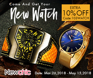 10% Off Watch;   Coupon code: 103WATCH; Valid until: May 15, 2018