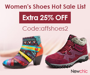 Extra 25% off Women Shoes Hot Sale; Code:affshoes2; Expire on 02/10/2019