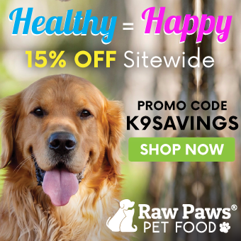 Save 15% at Raw Paws Pet Food. Use promo: K9SAVINGS