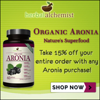 Organic Aronia, nature's superfood, from Herbal Alchemist. Take 15% off your entire order with purchase of Aronia