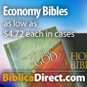 BiblicaDirect.com Economy Bibles as low as 4.72 each in cases.