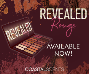 New Revealed Rouge Eyeshadow Palette. Fascinating. Captivating. Enticing. Available today at Coastal Scents