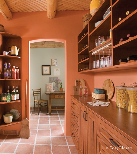 Create Your Own Cherry Rustic Pantry Wine Bar with EasyClosets