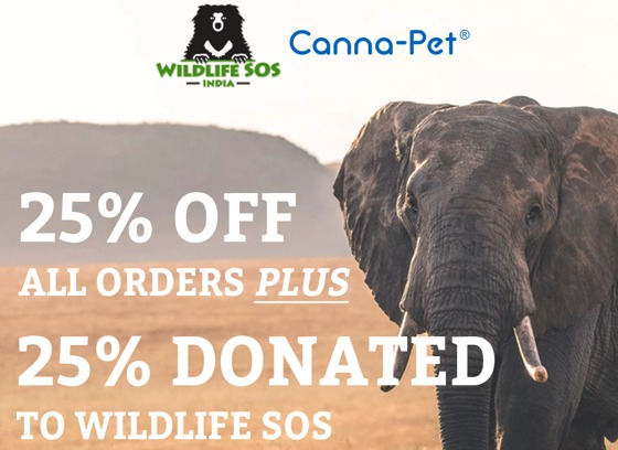 Help and Save - Take 25% Off all orders at Canna-Pet and 25% will be donated to WildLife SOS. Use Code WILDLIFESOS Offer expires 2/15.