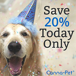 National Dog Party Day Sale! 20% off all orders. Offer Valid June 24th only! Visit Canna-Pet.com to learn more about organic hemp pet products!
