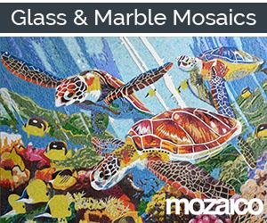 Marble Glass Mosaic Marine Life