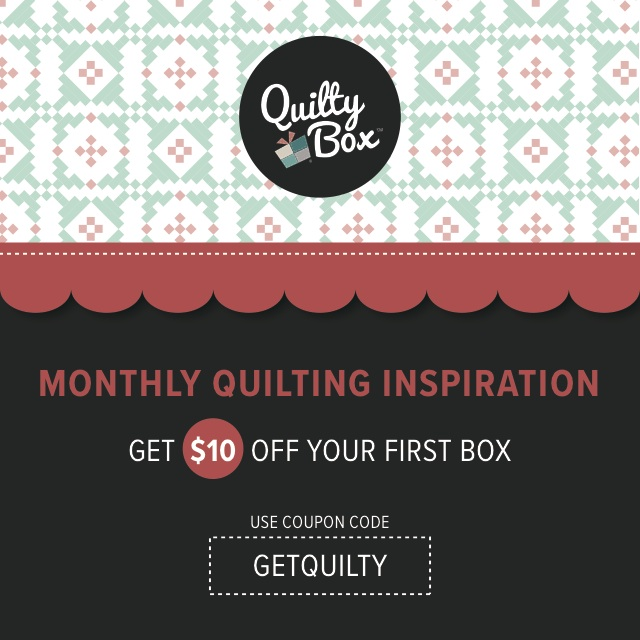Quilty Box - a quilty subscription that arrives monthly full of inspiration and supplies to get you sewing. I love mine! Perfect after sewing for everyone else. I get a nice surprise in the mail and then just get to play with it!