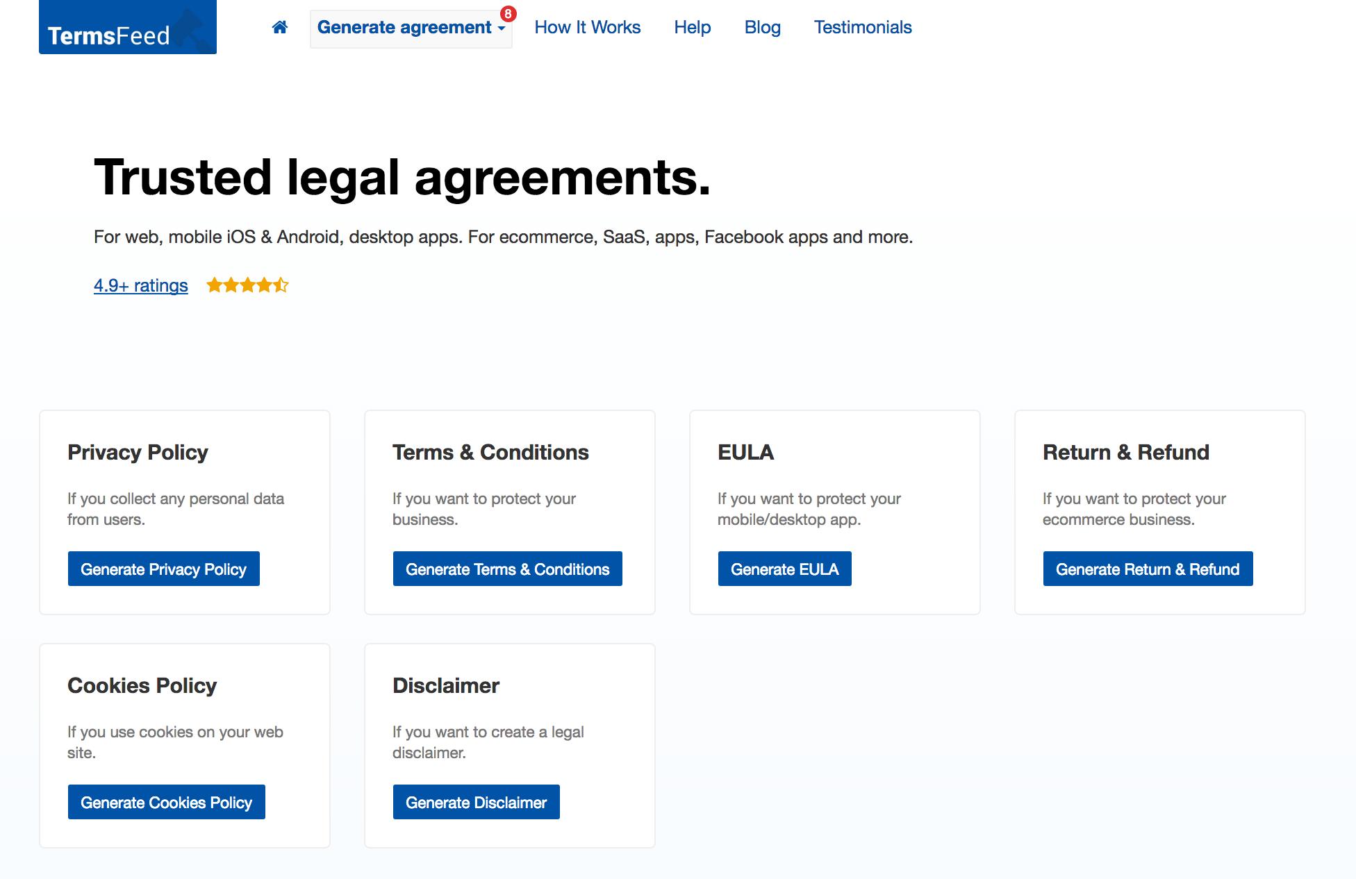 Homepage of TermsFeed