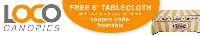 free 6' tablecloth offer from lococanopies.com