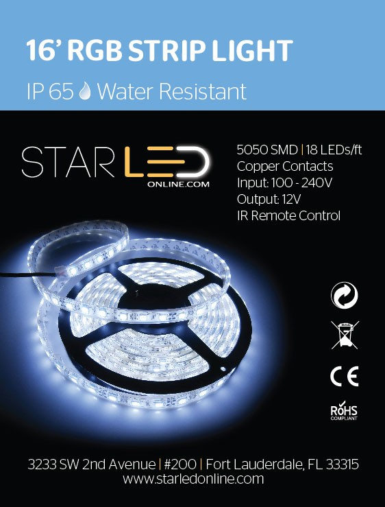 16' RGB Strip Light IP65 | Water Resistant