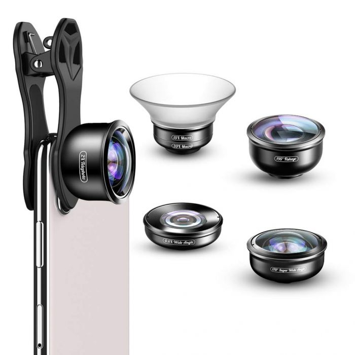 APEXEL APL-HD5 Universal 5 in 1 Mobile Phone Camera Lens Kit Was: $66.99 Now: $41.99.