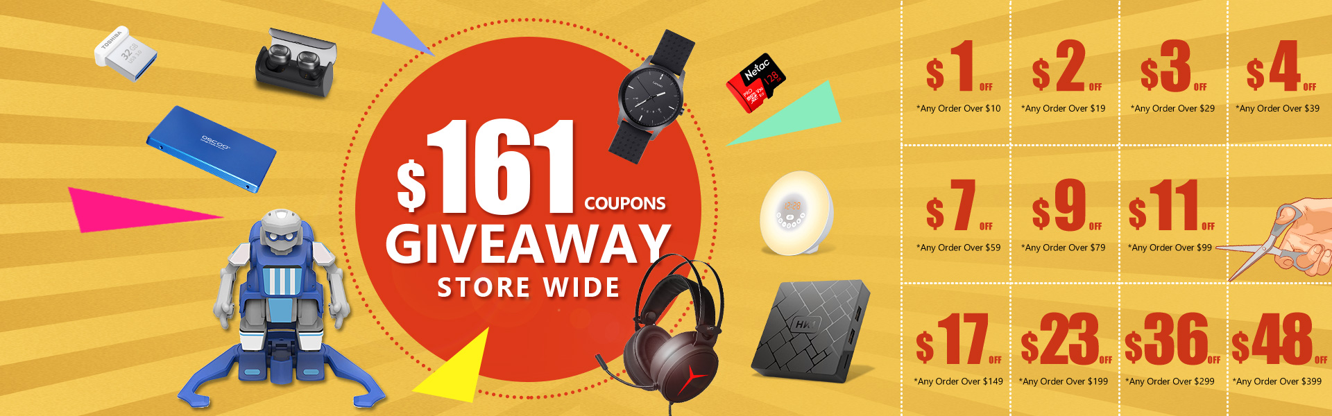 $161 Counpons Giveaway Storewide