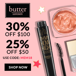 Celebrate Memorial Day with butter LONDON and enjoy 25% off purchases of $50 or 30% off purchases of $100 or more with code: MEM18. Offer starts Friday, May 25th and ends Monday, May 28th.