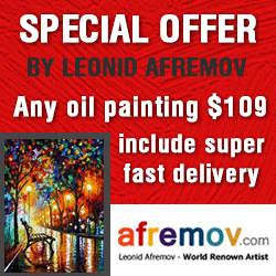 Any painting from the afremov.com for $109 with free international shipping