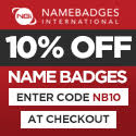 10% off Name Badges using promo code NB10