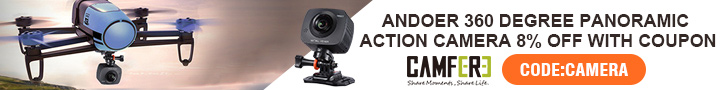 Andoer 360 Degree Panoramic Action Camera 8% OFF with coupon CODE:camera