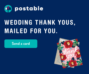 Wedding thank you cards, mailed for you. Send a card at Postable.com