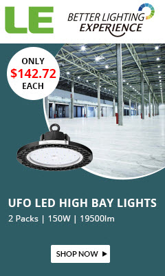 Pack of 2 Units, 150W UFO LED High Bay Lights, Daylight White Non-dimmable