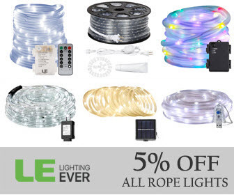 5% off rope lights with code WEDDING5 at lightingever.com