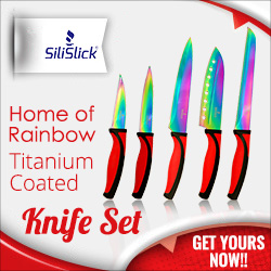 SiliSlick® Rainbow Titanium Coated 5-Piece Knife Set, Red Handle
