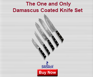 SiliSlick® Damascus Coated Stainless Steel Full tnag 5pc Knife Set