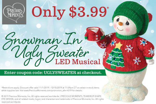 Save 50%* On Snowman In A Ugly Sweater LED