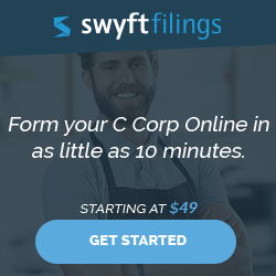 Form Your C Corp Online in as little as 10 minutes.