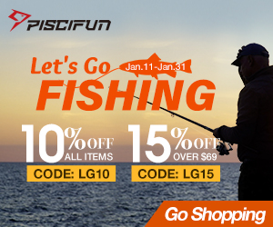 10% off on all Piscifun Fishing Gear,use code:LG10