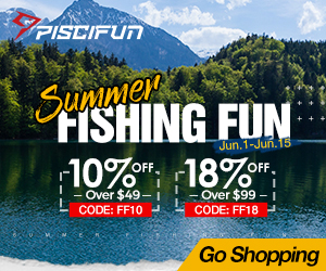 10% off Over $49 on Piscifun Summer Fishing Deal