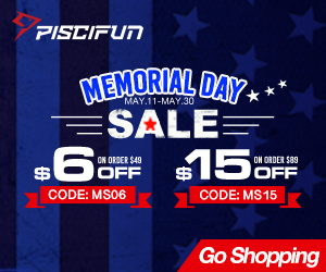 Piscifun May Promo use code ms15 for $15 off orders $89 plus