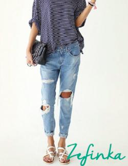 Women's Big Hole Ripped Designer Jeans Vintage
