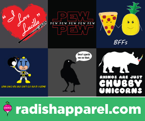 Funny, pop culture shirts from Radish Apparel.