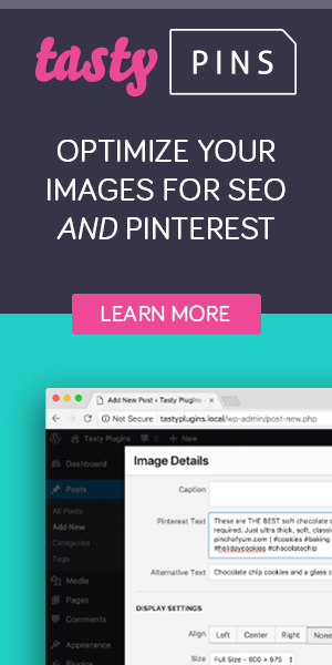 Tasty Pins plugin for optimizing images for SEO and Pinterest