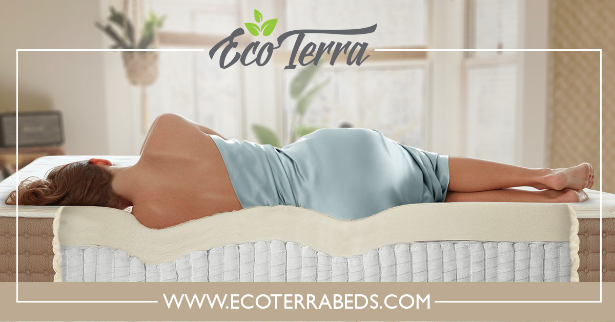 Lady sleeping on Eco-Terra mattress show mattress support