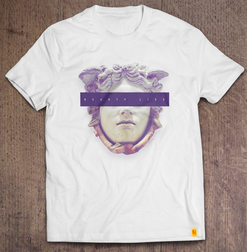 beauty lies censored gargon medusa white t-shirt designed by #TheActionPixel