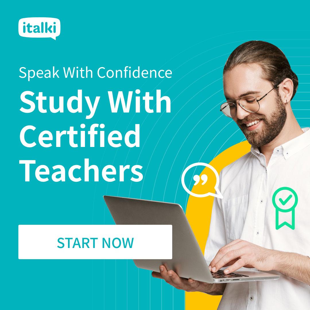 Ad: iTalki - Study with Certified Teachers