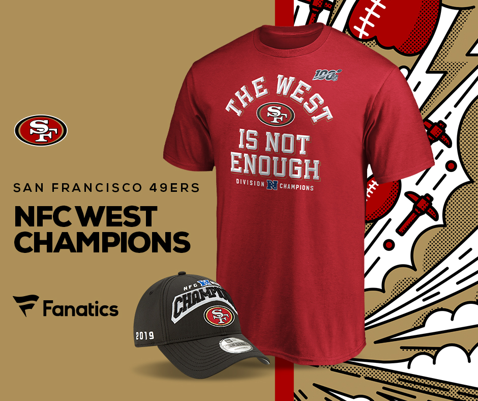 The 49ers are 2019 NFC West Champs - Get your Champs Gear at Fanatics