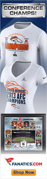 Shop Denver Broncos 2013 AFC Champs gear at Fanatics.com!