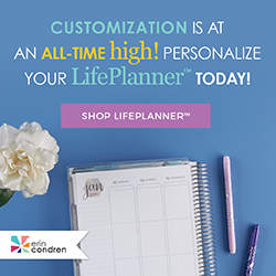 Text - Customization is at an all-time high! Personalize your LifePlanner today. Button that says Shop LifePlanner. Image of life planner on blue background, pens, white flower