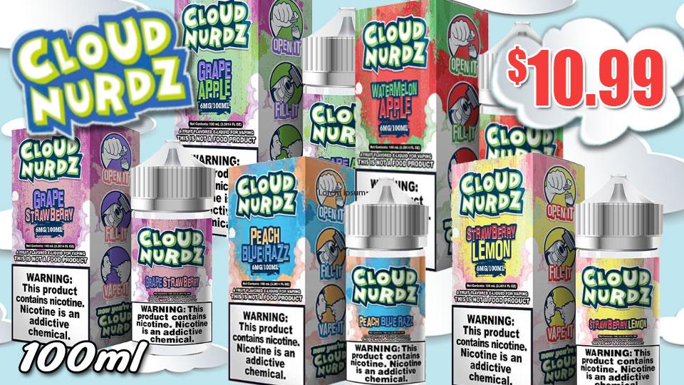 Cloud Nurdz 100ml $10.99 ejuice connect