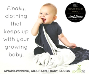 SproutFit, bodysuits, leggings, adjustable, reversible, made in America, baby clothes, award winning