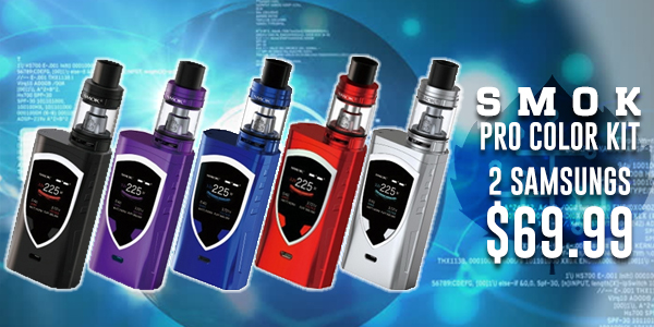 The New Smok Pro Color Kit with 2 Samsung 18650 batteries