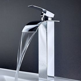 Contemporary Brass Waterfall Bathroom Sink Faucet (Tall)