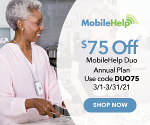 $75 Off MobileHelp Duo Annual Plan with code DUO75 at MobileHelp.com 3/1-3/31/21