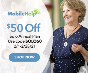 $50 Off MobileHelp Solo Annual Plan with code SOLO50 at MobileHelp.com 2/1-2/28/21.